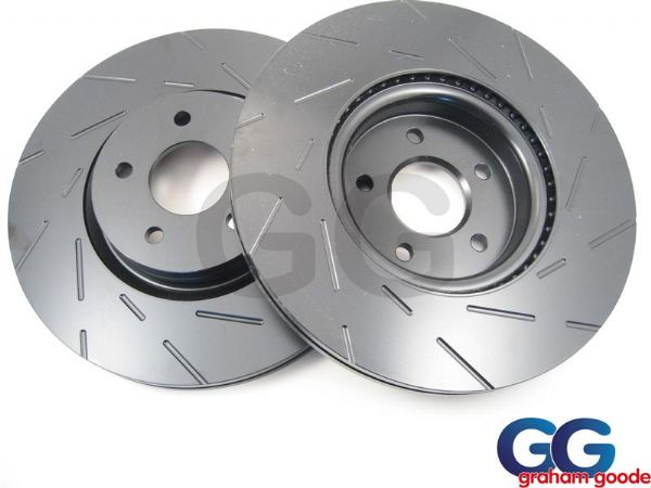 Front Grooved Brake Discs and Mintex Pads to fit Subaru Impreza WRX Turbo