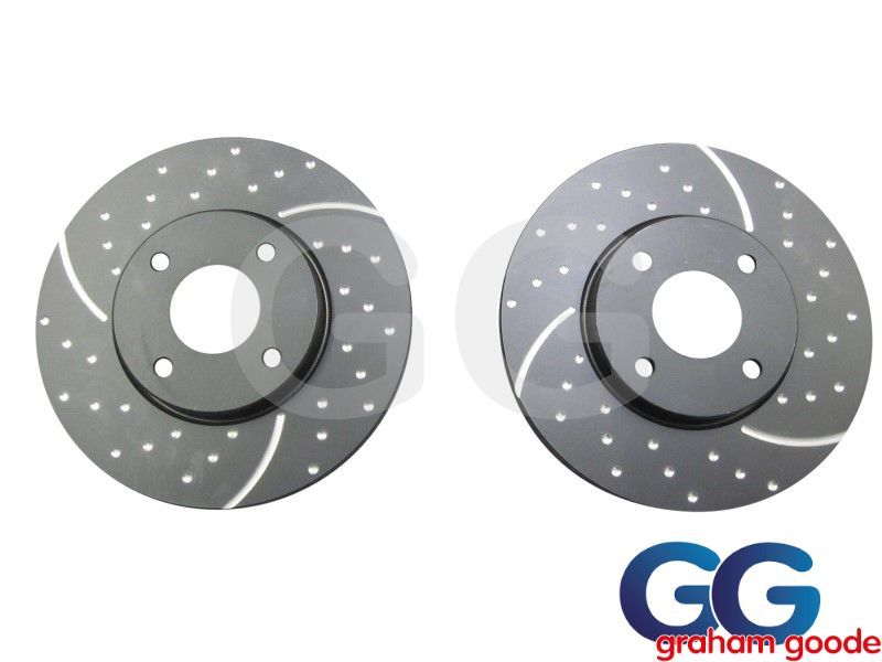 Front Brake Discs x 2 Ford Fiesta Zetec S1600 MK7 EBC Grooved GD1676