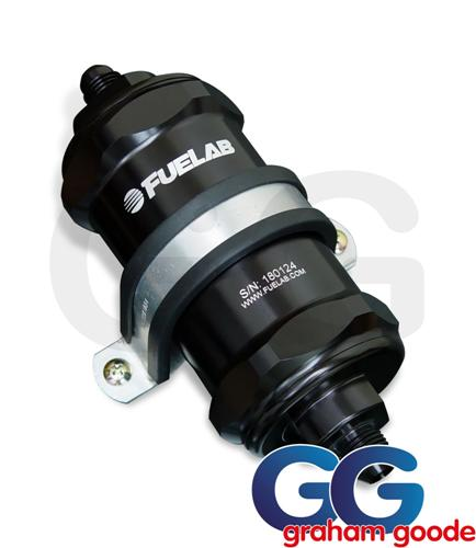 Fuelab In-line Fuel Filter with Integrated Check Valve Black -6JIC 84801-1